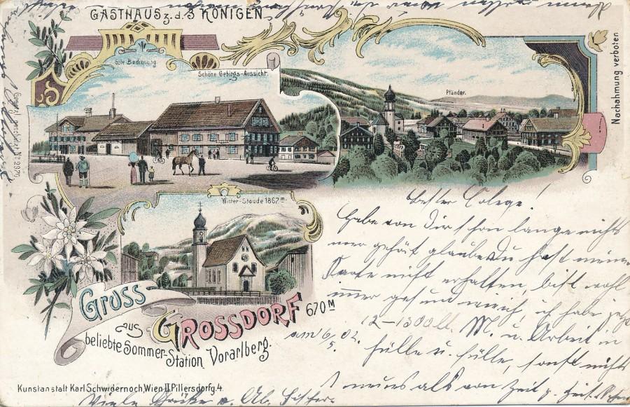 Gasthaus 'Dreikönig' Großdorf auf Postkarte